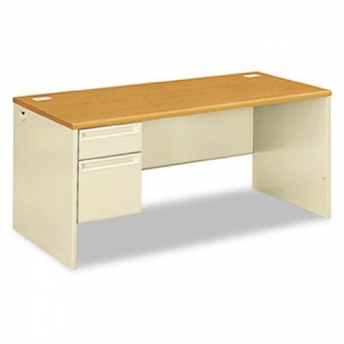 HON 38292LCL 38000 Series Left Pedestal Desk, 66w x 30d x 29-1/2h, Harvest/Putty