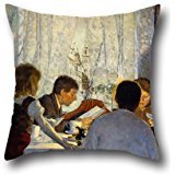 - 16 X 16 Inches / 40 By 40 Cm Oil Painting Gustav Wentzel - Breakfast II. The Artist's Family Throw Pillow Case,2 Sides Is Fit For Study Room,lounge,home,kids,home Office,girls