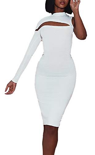6043b970a364 Festiva Al Del Pacchetto Fashion Glamorous Ginocchio Slim Collo Elegante  Party Vestiti Da Bianca Semplice Rotondo Sera Donna ...