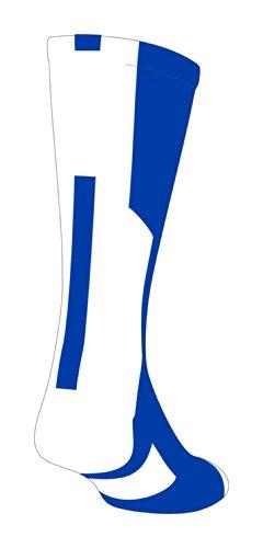 TCK Player Id Royal/White Number Crew Sock (Blank - Single Sock, (Sock Blank)