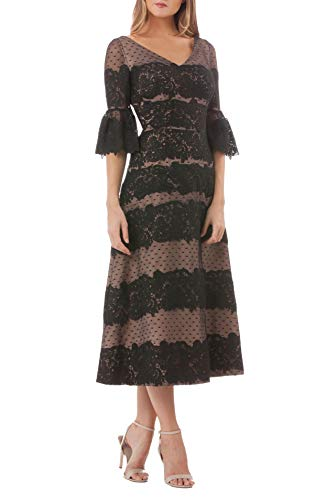 JS Collection Women's Embroidered Lace Tea Length Dress Black 8