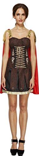 Smiffy's Women's Fever Gladiator Costume, Dress with Cape, Legends, Fever, Size 14-16, (Gladiator Halloween Costume Women)