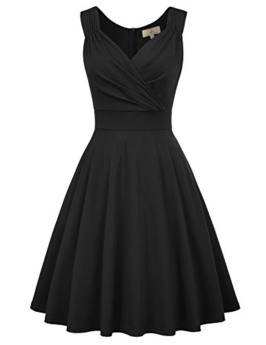 GRACE KARIN Women's 50s 60s Vintage V-Neck Cocktail Dress Size M Black CL698-1