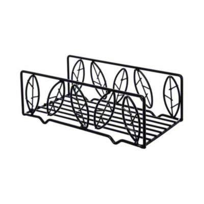 American Metalcraft NDSL59 Napkin Holder Basket, Leaf, Wrought Iron, 8-3/4