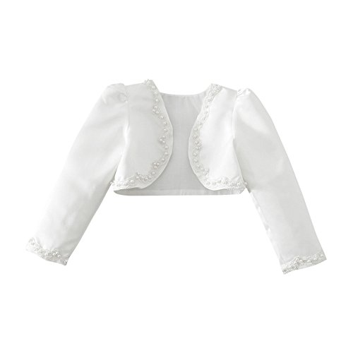 YiZYiF Kids Girls Beaded Satin Bolero Wedding Dress Cover Up White 7-8