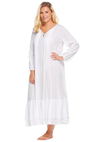 Ekouaer Women s Flannel Nightgowns Comfy Long Sleeve Women s Loungewear  Plus Size at Amazon Women s Clothing store  9500e4f97