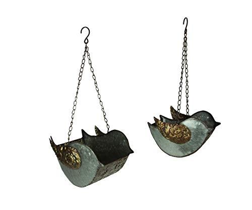 Galvanized Finish Embossed Set of 2 Hanging Metal Bird Planters ()