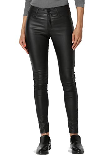 - TheMogan Women's Zip Ankle Mid Rise Skinny Faux Leather Pants Black 15