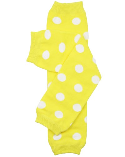 juDanzy polka dot leg warmers for baby or toddler boys & girls (One Size (12 pounds to 10 years), Yellow Polka Dot)