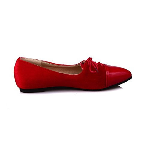 BalaMasa Womens Bandage Pointed-Toe Pull-On Urethane Loafer-Flats Red Ih3cr01