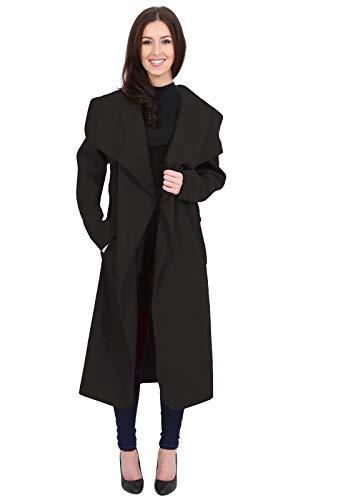 MUGHNIO Women Italian Design Long Sleeve Ladies Belted Trench Waterfall Coat Long Jacket 8-22 Black