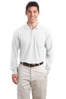 Port Authority Mens Long Sleeve Silk Touch Polo with Pocket