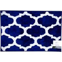 "Fretwork Bath Rug, Navy/White, Size 20"" x 30"" 100% polyester by: Mainstays"