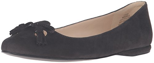 Nine West Women's Simily Suede Pointed Toe Flat Dark Grey 3du44LNlre