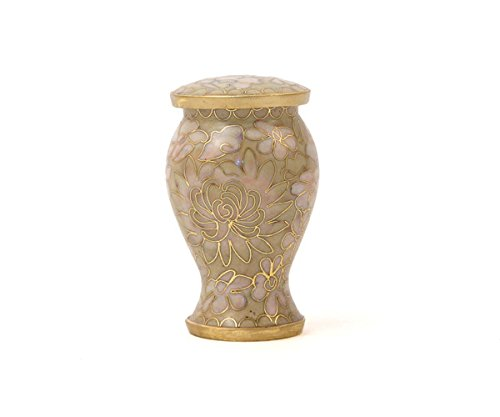 Cloisonne Keepsake - Etienne Bronze Mini Memorial Keepsake Urns - Extra Small - Holds Up To 5 Cubic Inches of Ashes - Cloisonne Ivory Cremation Urn for Ashes - Engraving Sold Separately