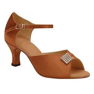 XIAMUO Anpassbare Damen Tanz Schuhe Satin/funkelnden Glitter Satin/funkelnden Glitter Latin/Jazz/Swing Salsa Schuhe/Sandalen/Fersen, kräftigem Pink, US 9 / EU 40/UK7/CN41