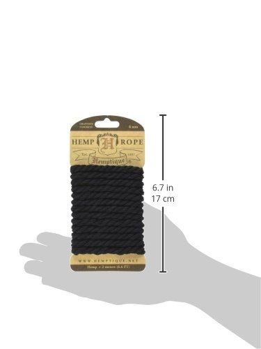Black Hemptique HRC6MBLK Hemp Rope 6.56-Feet