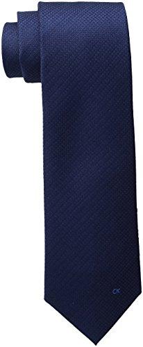 Logo Necktie Ties Silk (Calvin Klein Men's Simple Houndstooth Logo Tie, Navy, One Size)