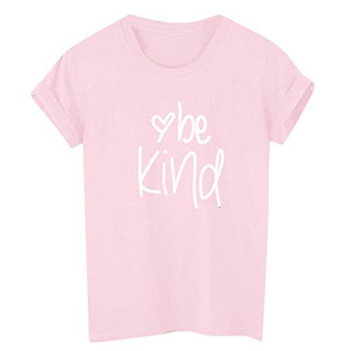 Sunhusing Ladies Letter Be Kind Print Short Sleeve T-Shirt Solid Color Round Neck Top Tee Pink