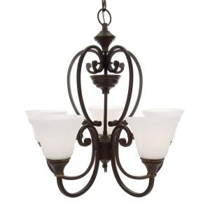 Hampton Bay Somerset 5-Light Bronze Chandelier with Bell Shaped Frosted Glass Shades