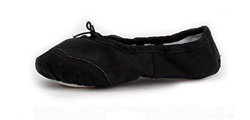 Happy Cherry - Zapatillas de Danza Baile Ballet Tutú Cruzadas para Niñas de Lona Bailarina Suela de Piel Punta Reforzada Negro