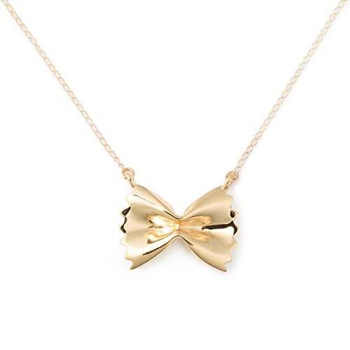 Farfalle Pasta Necklace, 14K Yellow Gold, Foodie Jewelry