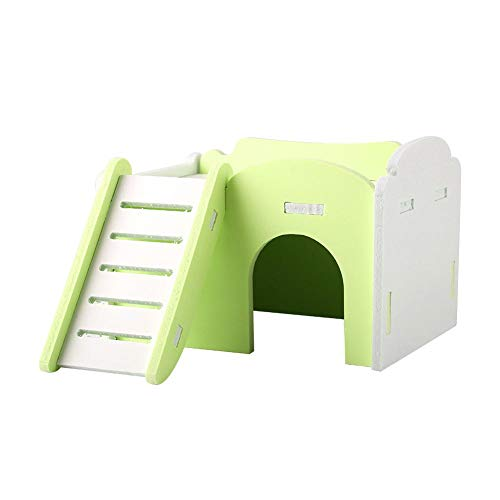 Mumusuki Double Layer Hamster House Bed Cage Climb Toys Small Pets Slide Nest Loft Bed Cute Wooden Sleeping House with Stairs for Guinea-Pig Hedgehog Castle(Green)