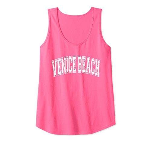 - Womens Venice Beach Varsity Style Pink with White Text Tank Top