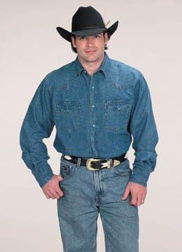 para Hombre Button Down 100% algodón Western Camisa de Cowboy Azul Azul Vaquero S: Amazon.es: Ropa y accesorios