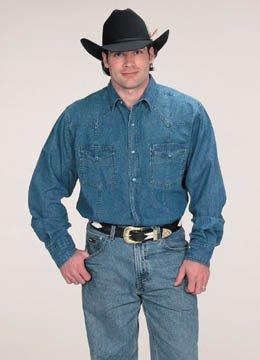 e59b8cfed para Hombre Button Down 100% algodón Western Camisa de Cowboy Azul Azul  Vaquero S  Amazon.es  Ropa y accesorios