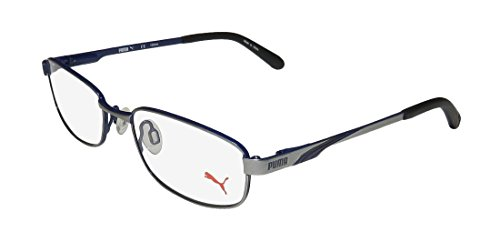 Puma 15409 Mens/Womens Flexible Hinges Classic Shape Adults Affordable TIGHT-FIT Designed For Jogging/Cycling/Sports Activities Eyeglasses/Glasses (49-17-130, Gray/Blue) (Prescription Glasses Sports)