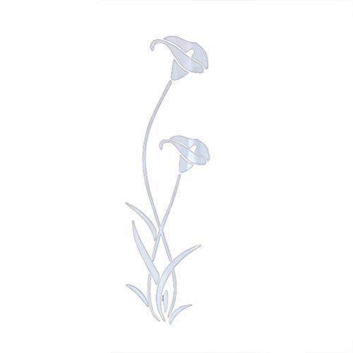 (3D Acrylic Wall Sticker Calla Lily Mirror Sticker Eco-Friendly Wall Decals for Bedroom Living Room Bathroom Decoration Silver)