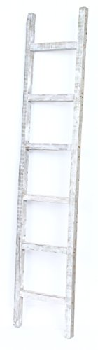 BarnwoodUSA Rustic 6 ft Decorative Ladder - 100% Reclaimed Wood Ladder, White