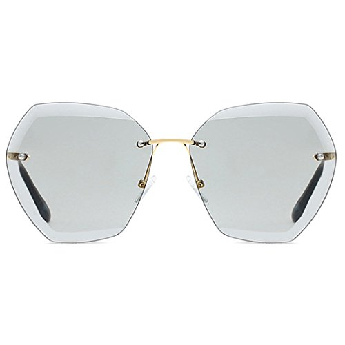 sol Dorado Aiweijia Glasses montura sin para Sun Cutting tamaño UV400 de mujeres Gris gran sin de marco Diamond Gafas Lens xAHpf