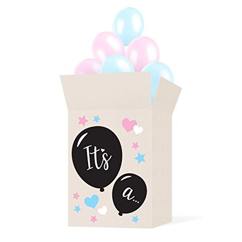 Gender Reveal Box Sticker Kit - Decorate Your Own Balloon Box - Use with Gender Reveal Balloon - Great For Baby Shower Party Supplies, Decorations, Accessories and Games