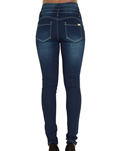 Jeggings Leggings Push Donna Skinny Lunghi Jeans Alta Pantaloni Up Matita a Blu Vita ZhuiKun Sx5w7FBqF