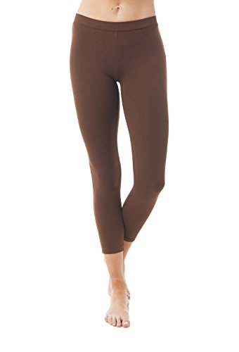 Khanomak Cotton Blend Capri Cropped Legging Pants (Large, Chocolate Brown)