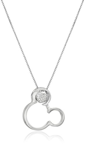Disney Sterling Silver and Diamond Mickey Mouse with Heart Pendant Necklace, 18