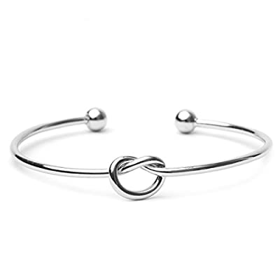 WeiVan Love Knot Bangle Bracelet Adjustable Tie The Knot Cuff Bangle Bridesmaid Gift