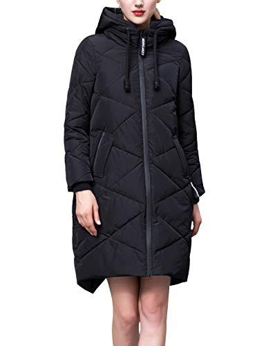 D.B.M Women's Loose Thick Warm Mid-Length Zipper Drawstring Hooded Down Coat (XX-Large, Black) (Rear Split Tip)
