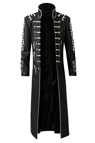 COSSHOW Men's Suit for Devil May Cry 5 Vergil Cosplay Costume Halloween Coat Long Jacket (L) Black