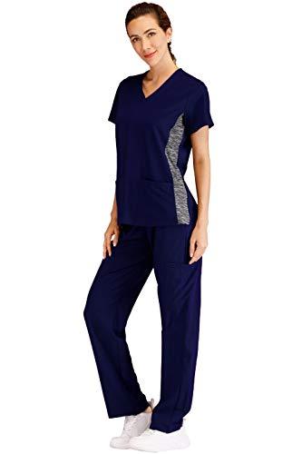 Minty Mint Women's V Neck Stretch Medical Scrub Set w Side Panels Indigo S - Medical Scrubs Sets