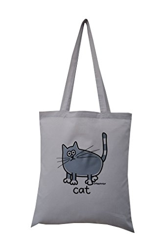'grey cat' cotton tote bag. Grey bag. Special offer!