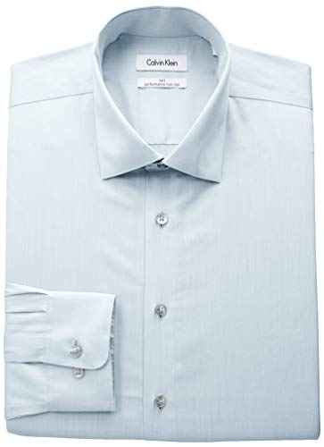 393 Mint (Calvin Klein Men's Big and Tall Dress Shirts Non Iron Herringbone Solid, Mint, 18.5