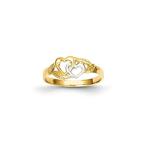 Brilliant Bijou Genuine 14k Yellow Gold & Rhodium Double Heart Cut-Out Ring Size -