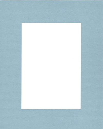 Pack of (5) 11x14 Acid Free White Core Picture Mats Cut for 8x10 Pictures in Sheer ()