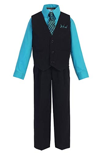 iGirldress Little Boys' and Special Occasion Pinstripe Vest Set Black/Turquoise 3