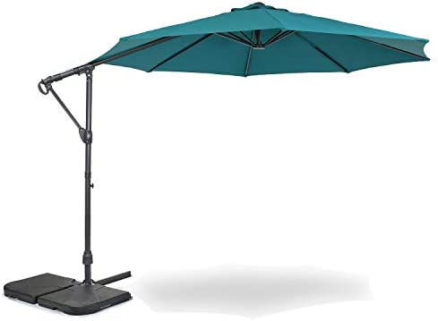 Home Zone Living 10ft Offset Cantilever Patio Umbrella, Instant Up Down Design, Crank Free, 360-Degree Swivel, UV Water Resistant, Patio, Lawn, Deck, Backyard, Garden, Spa Pool Ready, USA-Based