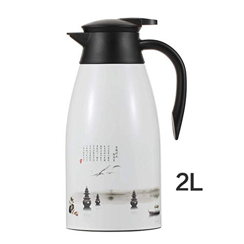 Insulated Lotus Three Pools Vacuum Thermal Flask Jug High Grade High Capacity Coffee Pot 2 Litre (color : Ivory whiteA) ()
