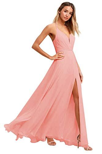 Women's Halter Chiffon Long Evening Prom Dress Backless Formal Party Bridesmaid Gown with Slit Coral Size 6